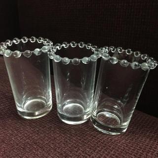 縁飾りが可愛いガラスカップ3点セット 一輪挿しやインテリア等に(花瓶)