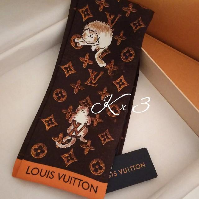 LOUIS VUITTON(ルイヴィトン)のLOUIS VUITTON バンドースカーフ/キャットグラム/タグ付 レディースのファッション小物(バンダナ/スカーフ)の商品写真