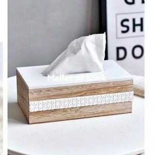 ボヘミアン調木製ティッシュBOXケース カバー おしゃれ 木目調 ウッド(ティッシュボックス)