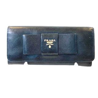 PRADA - プラダ サフィアーノレザー リボン 長財布 ロングウォレット ブラック