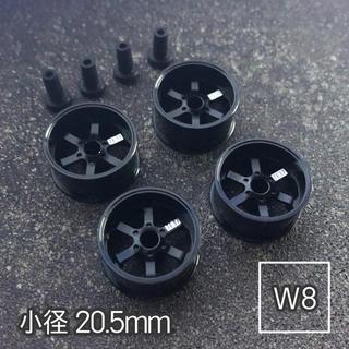 ミニ四駆 アルミホイール 4個セット(小径TX)ブラック(模型/プラモデル)