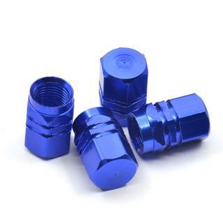 アルミ製 タイヤエアバルブキャップ 青 4個セット(汎用パーツ)