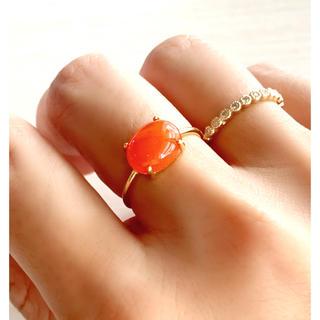 天然石 カーネリアン AAA  爪留めリング 指輪(リング)