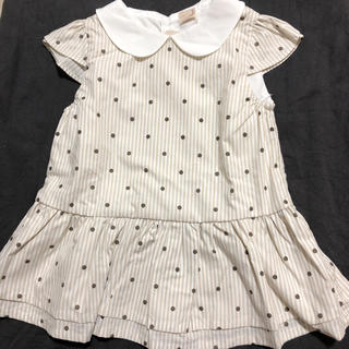プティマイン(petit main)のプティマイン ドットペプラムチュニック(Tシャツ/カットソー)