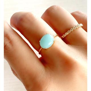 天然石 アマゾナイト 天然ブルークォーツァイト 爪留めリング 指輪(リング)