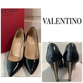 VALENTINO - 美品 VALENTINO ブラックパテント スタッズ パンプス