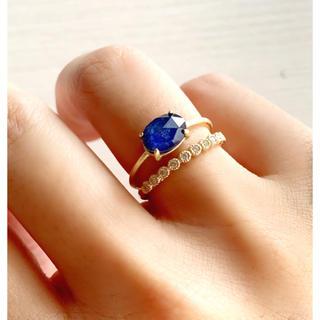 天然石 ラピスラズリ×クリスタル 6×8オーバル 爪留めリング 指輪(リング)