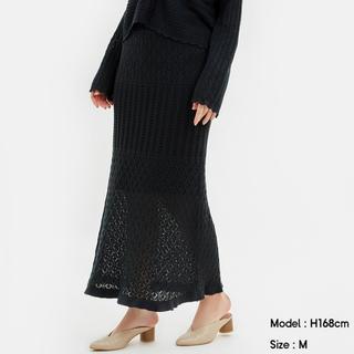 ジーユー(GU)のGU  透かし編みニットスカート ダークグレー S(ロングスカート)