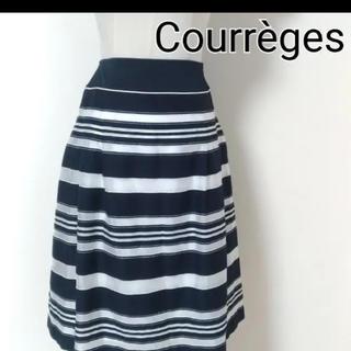 クレージュ(Courreges)のクレージュ ボーダー シフォン 膝丈スカート(ひざ丈スカート)