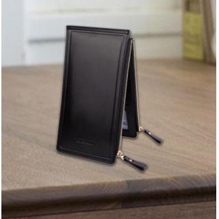 PU レザー カードケース ダブルファスナー ブラック(長財布)