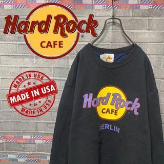 ハードロックカフェ スウェット トレーナー ビックロゴ 90s USA 黒 85