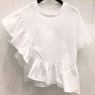 ZARA - アンバランス フリル Tシャツ