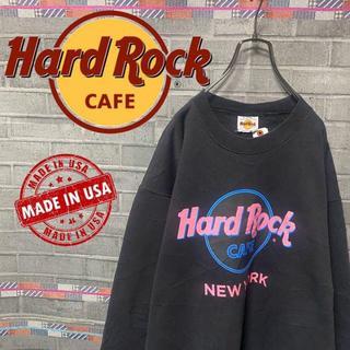 ハードロックカフェ スウェット トレーナー ビックロゴ 90s USA 黒 60