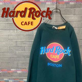 ハードロックカフェ スウェット トレーナー ビックロゴ 90s 緑 59