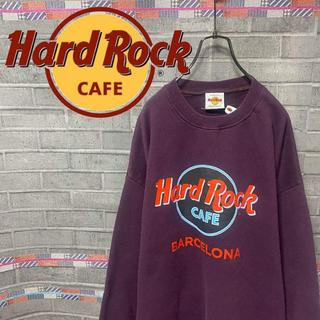ハードロックカフェ スウェット トレーナー ビックロゴ 90s 紫 53
