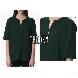 theory - 《中古美品》Theory  深緑 ウォッシャブル とろみブラウス 半袖