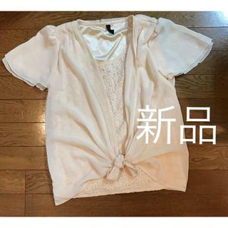 ベージュ シフォン レース柄 トップス Mサイズ(カットソー(半袖/袖なし))