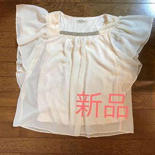Mサイズ白 レース柄 ベージュ シフォン ひらひら トップス(シャツ/ブラウス(半袖/袖なし))