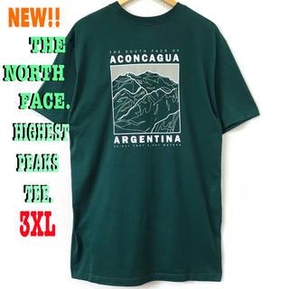 ザノースフェイス(THE NORTH FACE)の3XL相当 新品 ♪ ノースフェイス HIGHEST PEAKS Tシャツ 緑(Tシャツ/カットソー(半袖/袖なし))