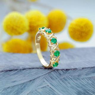 ☆ 小花をデザインしたグリーンジルコニアリング(リング(指輪))