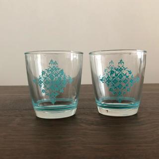 ファイヤーキング(Fire-King)のヘーゼルアトラス  サワークリーム グラス レース柄 ターコイズブルー(グラス/カップ)