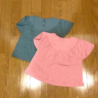 ZARA KIDS - 新品未使用 zara baby 刺繍ブラウス風 Tシャツ 2枚 ピンク カーキ