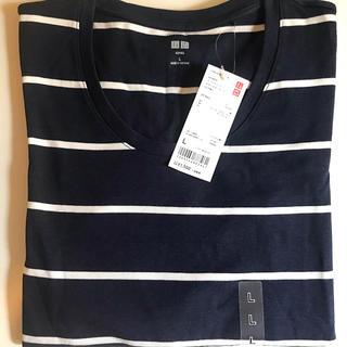 ユニクロ(UNIQLO)の新品 ユニクロ Tシャツ 七分袖 ボーダー ネイビー 紺色 タグ付き(Tシャツ(長袖/七分))