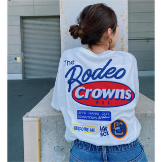 RODEO CROWNS WIDE BOWL - ロデオ★Mix big VネックTシャツ【O/WHT】