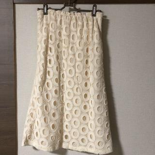 LE CIEL BLEU - スカート  柄 穴 丸、ルシェルブルー