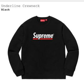 Supreme - 新品 S supreme underline crewneck 黒