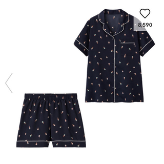 GU - サテンパジャマ(半袖&ショートパンツ)(アイスクリーム)+E ネイビー Lサイズ