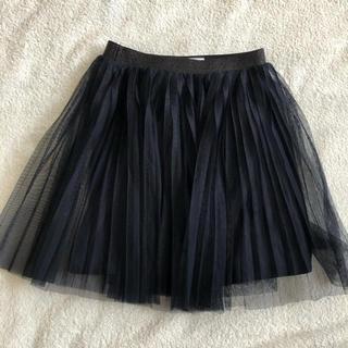 ユニクロ(UNIQLO)のユニクロ シフォンプリーツスカート 120  ネイビー(スカート)