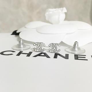 シャネル(CHANEL)の正規品 シャネル ピアス ミニ シルバー ラインストーン ココマーク 銀 ロゴ(ピアス)
