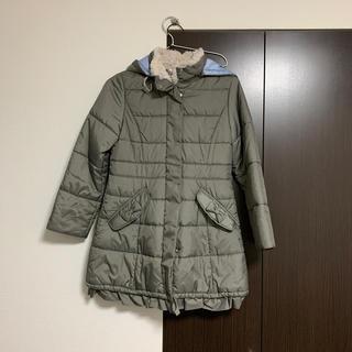 familiar - ファミリアのグレーの中綿ロングコートリボンブリル140