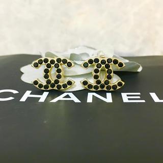 シャネル(CHANEL)の正規品 シャネル イヤリング ゴールド ココマーク ブラックストーン 金 ロゴ3(イヤリング)