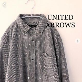 UNITED ARROWS - ユナイテッドアローズ ドット柄 七分袖シャツ チェックシャツ  Lサイズ
