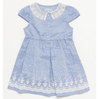 motherways - motherways(マザウェイズ)裾スカラップ柄コットン半袖衿付ワンピース97