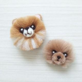 ハンドメイド 羊毛フェルト ポメラニアン 犬 マグネット セット(ぬいぐるみ)