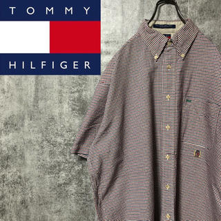 TOMMY HILFIGER - 【激レア】トミーヒルフィガー☆オールド刺繍ロゴ半袖ピンチェックシャツ 90s