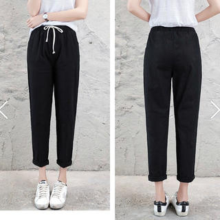 九分丈 麻綿パンツ 部屋着 パンツ 黒 ズボン パジャマ ランニングウェア(ルームウェア)