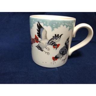 ハロッズ(Harrods)の水色 マグカップ バーレイ  burleigh Rosie's Hens(グラス/カップ)
