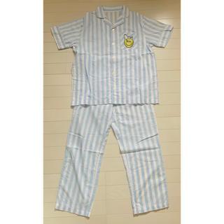 ジーユー(GU)のGU スヌーピー パジャマ 半袖 ブルー/ホワイト ストライプ(パジャマ)