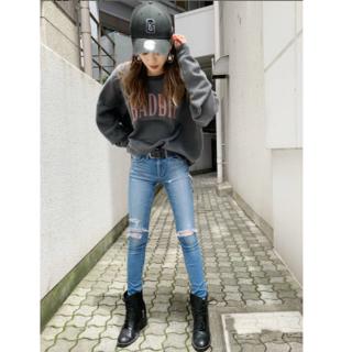 GYDA - GYDA thigh high cut knee ダメージデニム