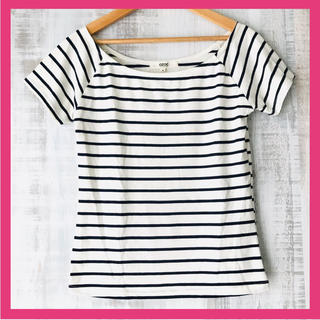 オゾック(OZOC)のozoc レディース 半袖 ボーダー M 38 Tシャツ 白 紺色 ネイビー(Tシャツ/カットソー(半袖/袖なし))