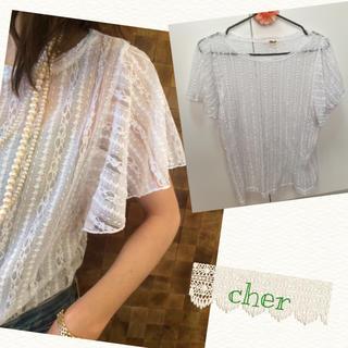 シェル(Cher)のcher レースフレアスリーブトップス(シャツ/ブラウス(半袖/袖なし))