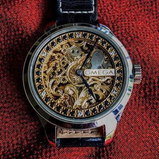 オメガ(OMEGA)の【ONLY ONE】オメガ アンティーク 腕時計 スケルトン 手巻き OH済(腕時計(アナログ))