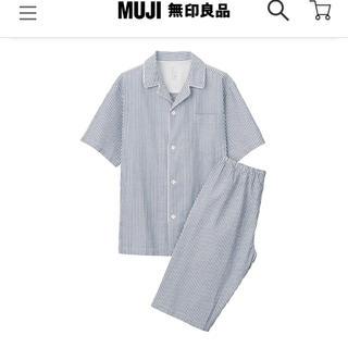 MUJI (無印良品) - MUJI パジャマ ルームウェア  ストライプ ネイビー M 夏