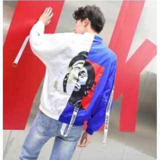 ジャケット ピエロ MA-1 ストリート系 オルチャン メンズ 白 青 M(ブルゾン)