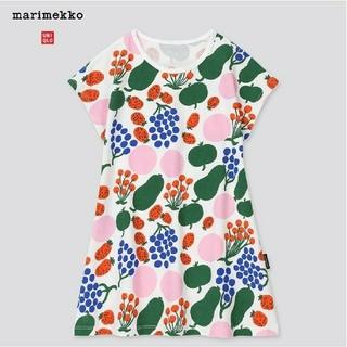 マリメッコ(marimekko)の[セット]ユニクロ × マリメッコ 半袖ワンピース(フルーツ&ブラック) 80(ワンピース)