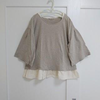 SM2 - サマンサモスモス 布帛裾 別布 フリルプルオーバー ベージュ 半袖~七分袖
